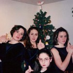The Otto sisters pose as Charlie's Angels.